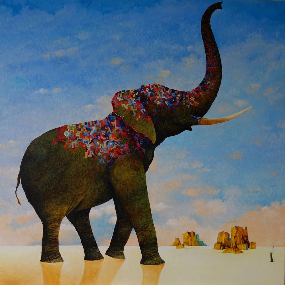Dans la galerie Yves Blin et les éléphants   Autoportrait