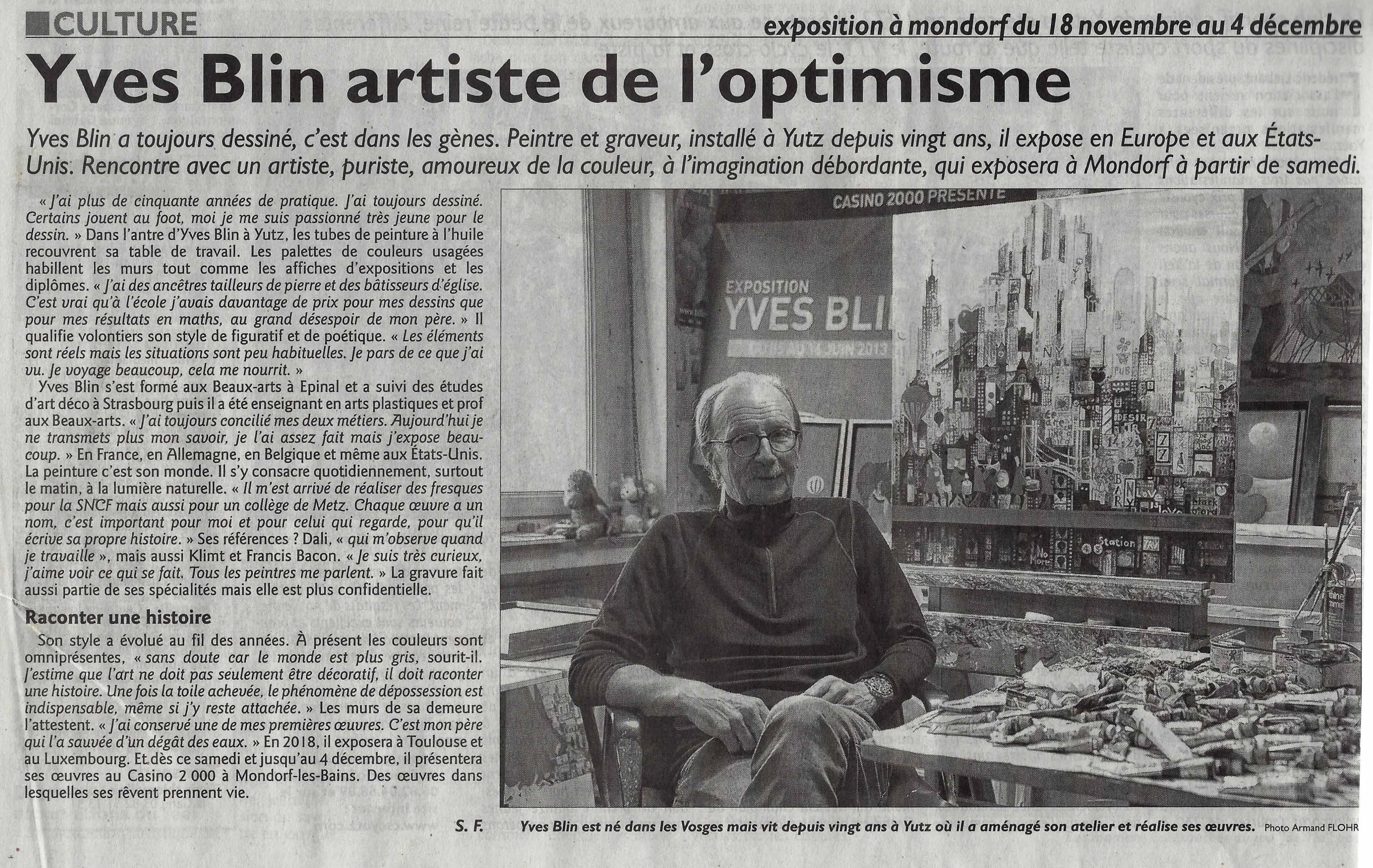 exposition du 18 novembre au 4 décembre au Casino 2000 de Mondorf les Bains